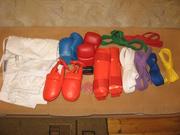 Кимано,  накладки,  футы,  комплект поясов,  капа БУ  для карате